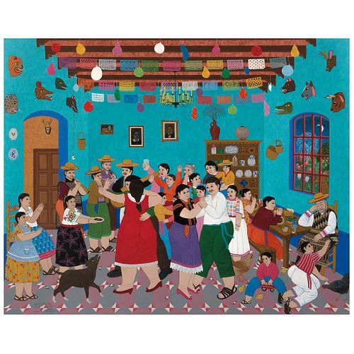 "RAFAEL VALLEJO MUÑIZ, La fiesta, Signed and dated México D.F. 29-VI-1993, Acrylic on canvas, 47.2 x 59"" (120 x 150 cm)"