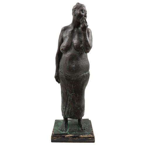 "FRANCISCO ZÚÑIGA, Mujer con la mano en la cara, Signed and dated 1980, Bronze sculpture VI/VI wooden base, 26.7 x 7 x 5.9"" (68x18x15 cm), Certificate"