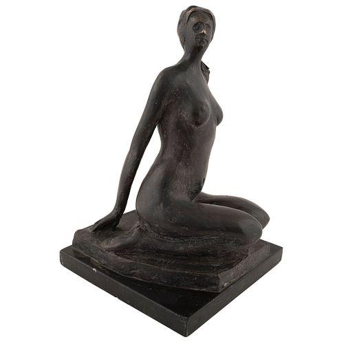 "BALTAZAR MARTÍNEZ, Untitled, 1976, Signed, Bronze sculpture on marble base, 12.2 x 7.8 x 7.8"" (31 x 20 x 20 cm)"