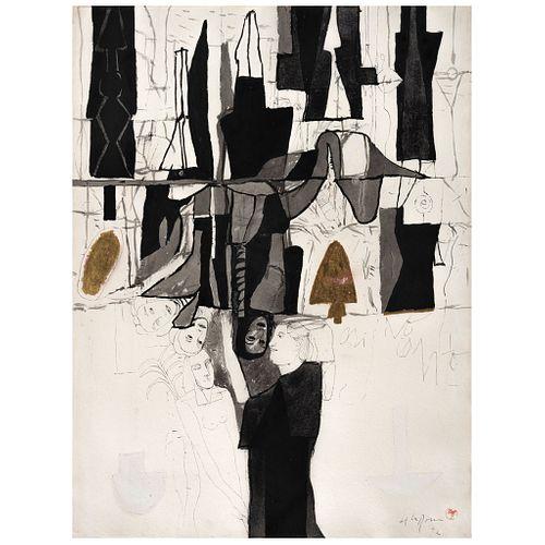 "JUAN MANUEL DE LA ROSA, Untitled, Signed, monogram and dated 92, Ink, watercolor, gold leaf on paper, 29.1 x 21.8"" (74 x 55.5 cm)"