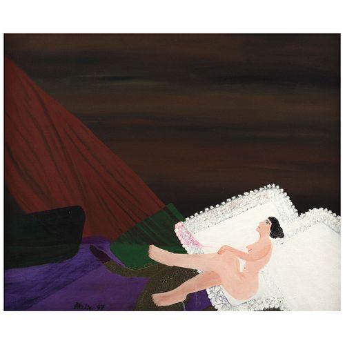 "MONTSERRAT ALEIX, El descanso, Signed and dated 97, Oil on canvas, 19.6 x 23.7"" (50 x 60.3 cm)"