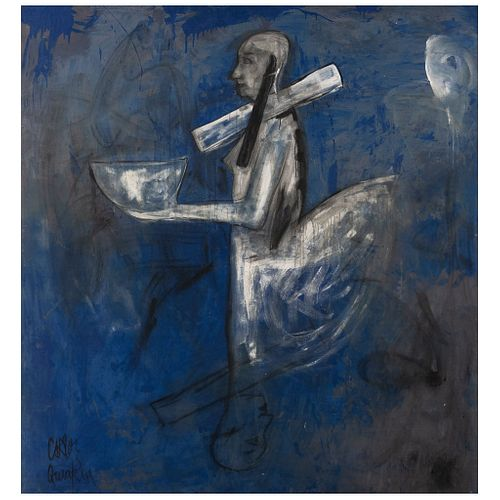 """CARLOS QUINTANA, Untitled, Signed twice, Oil on canvas, 74.6 x 69.8"""" (189.5 x 177.5 cm)"""