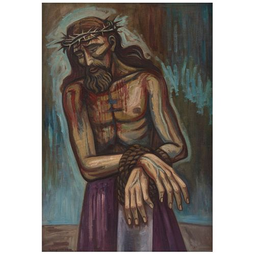 "RAÚL ANGUIANO, Cristo milagroso, Signed and dated 59, Oil on canvas, 57 x 39.3"" (145 x 100 cm), Certificate"