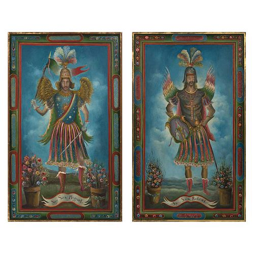 """JAIME SALDÍVAR, San Rafael y San Miguel, Signed and dated 75 on one panel, Oil / canvas, diptych, 60.6 x 69.8"""" (154 x 177.5 cm), Pieces: 2"""