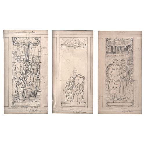 "JUAN O'GORMAN, Estudio para los murales del Castillo de Chapultepec, Signed, Graphite pencil on paper, 16.1 x 8.6"" (41 x 22 cm) each, Pieces: 3 togeth"