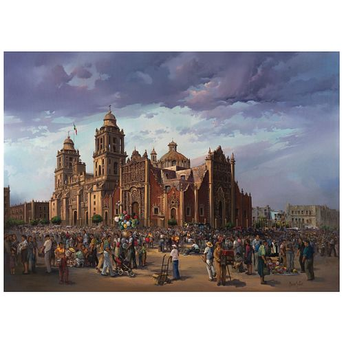 "MARIO CASTRO, Catedral metropolitana, Signed on front, Signed and dated Primavera 2011 on back, Oil on canvas, 51.1 x 70.8"" (130 x 180 cm)"