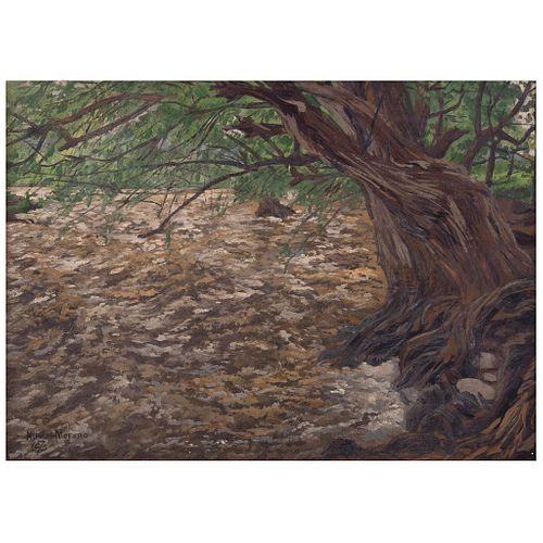 "NICOLÁS MORENO, Paisaje de la Sierra Tarahumara, Signed and dated 1975, Oil on wood, 12 x 16.7"" (30.5 x 42.5 cm)"