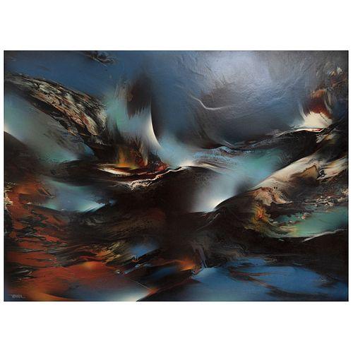 "LEONARDO NIERMAN, Génesis, 1989, Signed, Acrylic on masonite, 35.8 x 48.4"" (91 x 123 cm)"