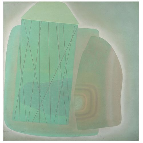 "JOSÉ LUIS SERRANO, Cabeza no. 3, Signed and dated 75, Acrylic on fiberboard, 44.2 x 44"" (112.5 x 112 cm)"