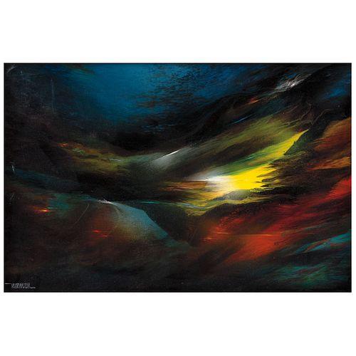 "LEONARDO NIERMAN, Prehistoric wind, Signed, Acrylic on masonite, 15.7 x 23.6"" (40 x 60 cm)"