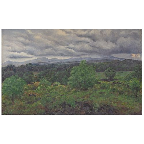 """NICOLÁS MORENO, Paisaje, Signed and dated 1963, Oil on canvas, 31.4 x 51.1"""" (80 x 130 cm), Certificate"""