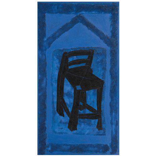 """ROSARIO GUERRERO, Como en el cielo, Signed and dated 1985, Oil and sand on canvas, 59 x 31.4"""" (150 x 80 cm)"""
