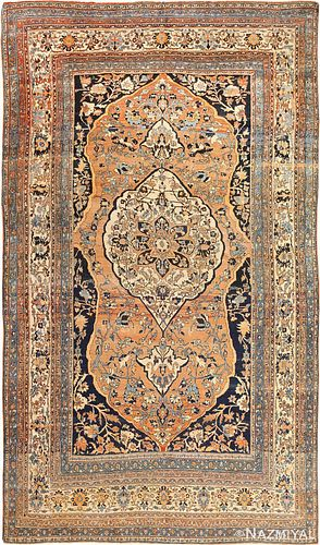 PERSIAN TABRIZ ANTIQUE RUG, 12 ft x 7 ft