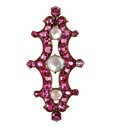 19C TIFFANY & CO Pendant, Sapphires Moonstones