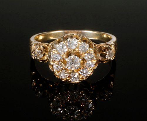 18K GOLD VICTORIAN MINE CUT DIAMOND RING