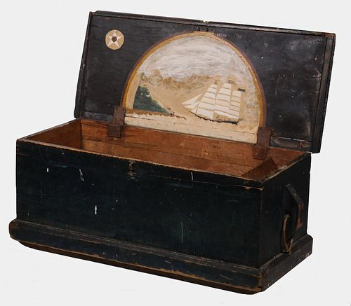 SEA CHEST WITH SHIP PAINTED INTERIOR