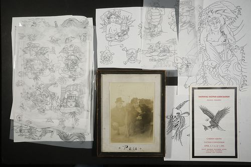 COLLECTION OF 100S OF PCS OF TATTOO ARTWORK BY TATS TOMMY AND ST. GILLES