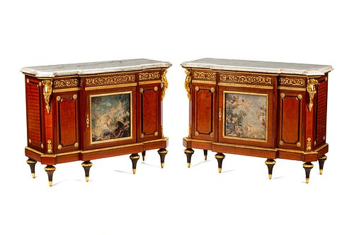 A Pair of Louis XVI Style Gilt Bronze and Porcelain Mounted Marble-Top Cabinets