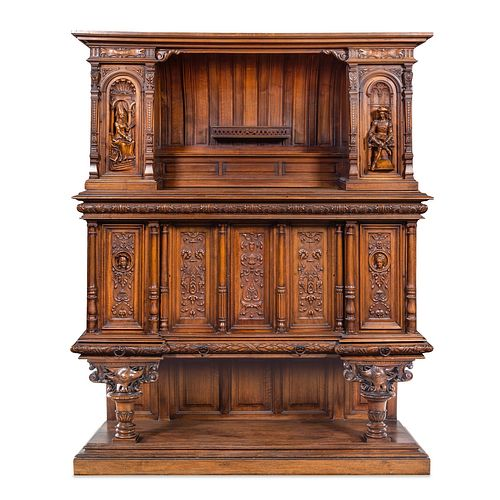 A French Renaissance Revival Carved Walnut Cabinet
