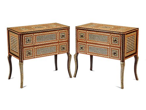 A Pair of Moorish Style Mother-of-Pearl Inlaid Commodes