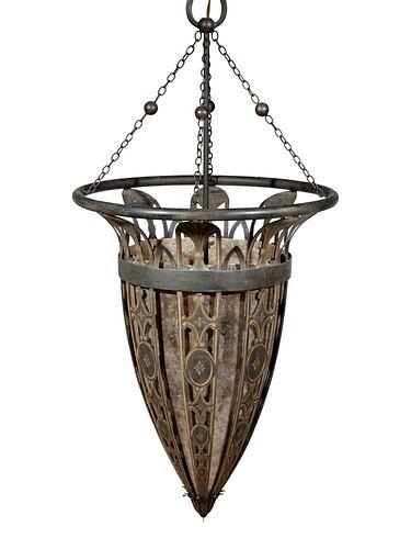 A Large Gothic Revival Parcel Gilt Lantern