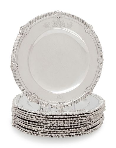 A Set of Twelve George II Silver Dinner Plates Engraved for the Countess of Brandon, County Kilkenny