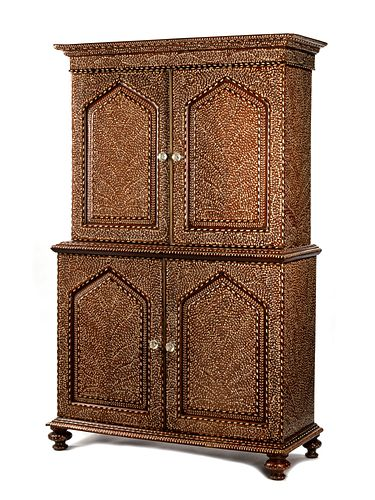 An Anglo-Colonial Bone Inlaid Two-Part Cabinet