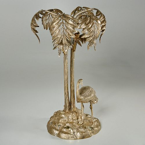 Elkington style silvered metal palm tree lamp