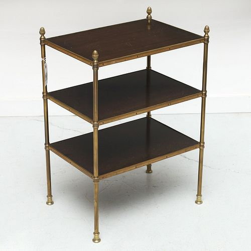 Mallett style brass, mahogany tiered side table