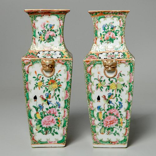 Pair Chinese porcelain vases, ex Parke-Bernet