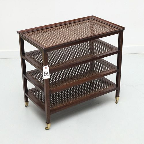 Contemporary caned etagere side table