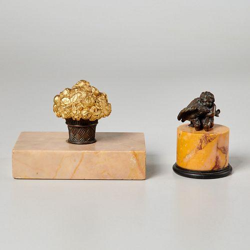 (2) Victorian bronze, marble desk accessories