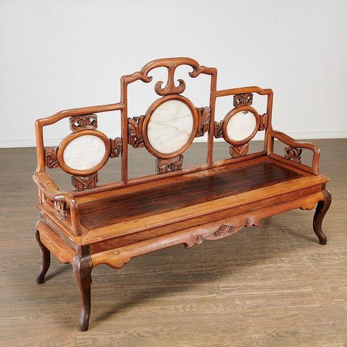 Antique Chinese marble set hardwood settee