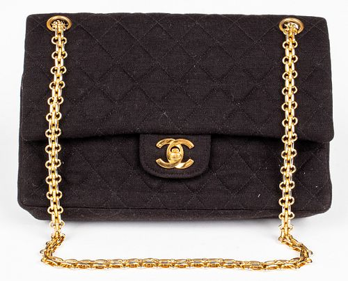 Rare Chanel Black Quilted Jersey Handbag