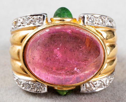18K Gold Pink & Green Tourmaline Diamond Ring