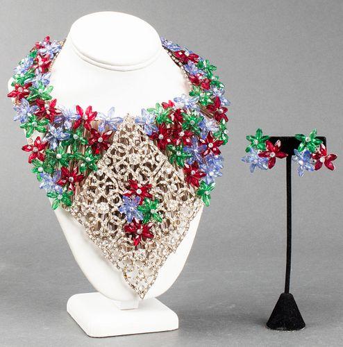 Vilaiwan Crystal Floral Necklace & Earrings Set