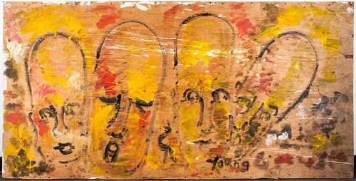 Purvis Young Folk / Outsider Art Large Panel