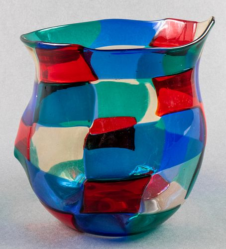 Fulvio Bianconi for Venini Pezzato Glass Vase