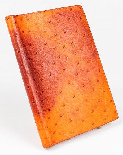 Hermes Orange Ostrich Globe Trotter Agenda Cover