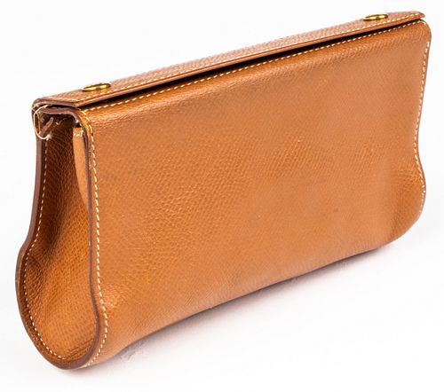 Hermes Brown Leather Karo Pouch / Clutch