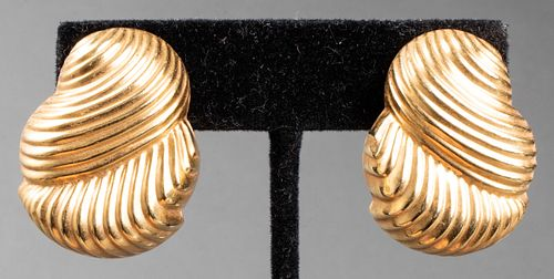 Vintage 14K Yellow Gold Ribbed Clip Earrings