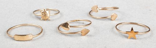 14K Yellow Gold Stacking Charm Rings, Set of 5