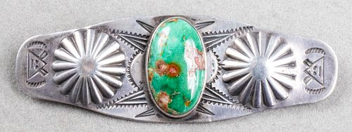 Native American Navajo Silver Turquoise Brooch