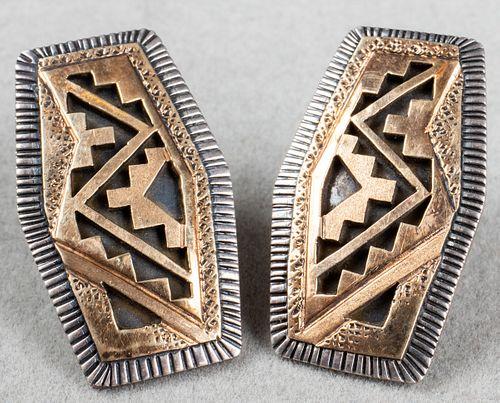 Peter Nelson Navajo 14K Gold & Silver Earrings