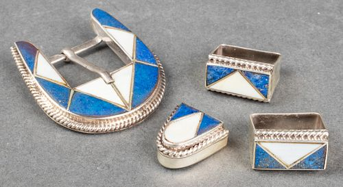 Navajo Silver Lapis & White Onyx Belt Buckle 4 pcs