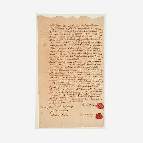 [Americana] Dickinson, John, Signed Indenture