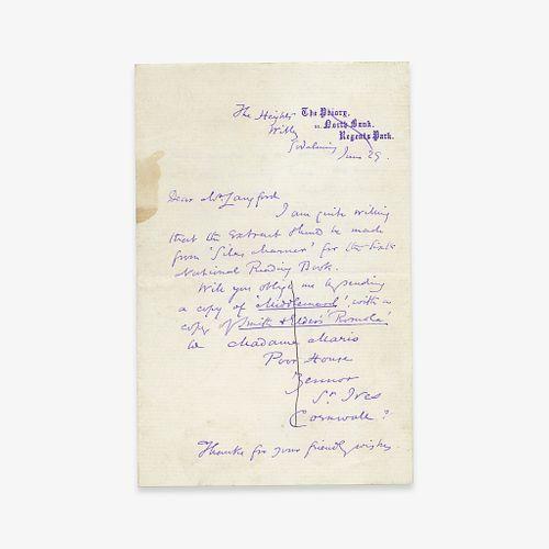 [Literature] Eliot, George (Mary Ann Evans), Autograph Letter, signed