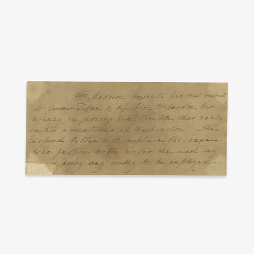 [Presidential] [First Ladies] Madison, Dolley, Autograph Note