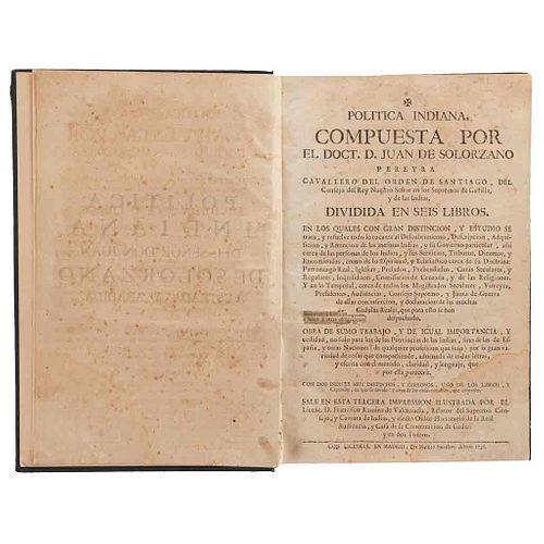 Solorzano Pereyra, Juan. Política Indiana. Madrid: Matheo Sacristan, 1736. Ilustraciones por Francisco Ramiro de Valenzuela. 3a imp.