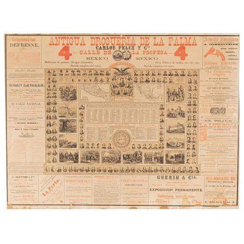 Génin, Augusto- Daudrieu, Julio. Calendario Nacional Mexicano. México: Antigua Litografía Debray Sucs., Carlos Montauriol, 1888. Litog.
